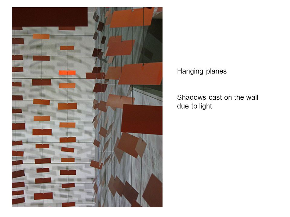 Hanging planes Shadows cast on the wall due to light