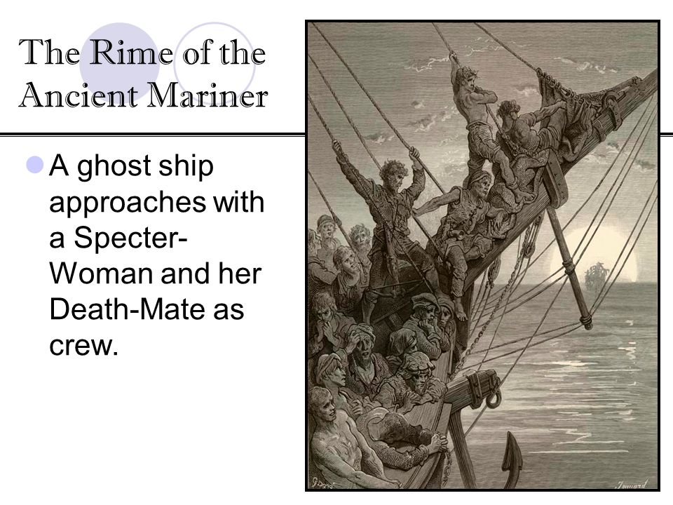 A ghost ship approaches with a Specter- Woman and her Death-Mate as crew. The Rime of the Ancient Mariner