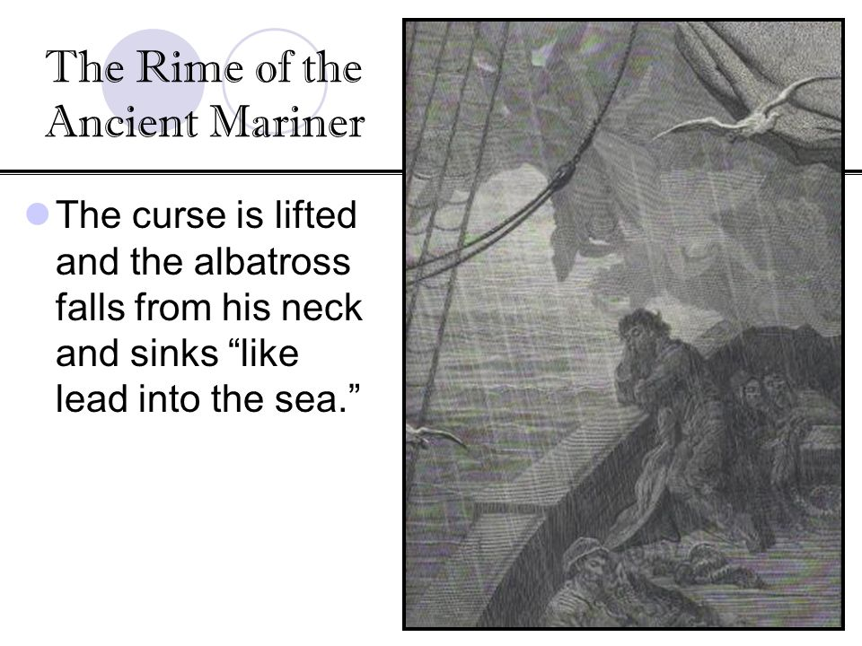 The curse is lifted and the albatross falls from his neck and sinks like lead into the sea. The Rime of the Ancient Mariner