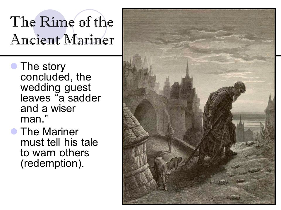 The story concluded, the wedding guest leaves a sadder and a wiser man. The Mariner must tell his tale to warn others (redemption). The Rime of the An