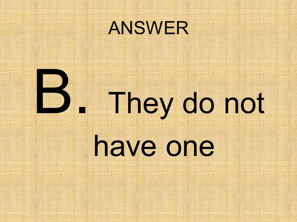 ANSWER B. They do not have one