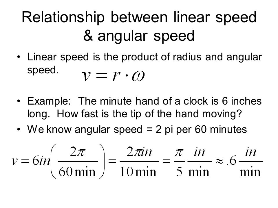 Relationship between linear speed & angular speed Linear speed is the product of radius and angular speed. Example: The minute hand of a clock is 6 in