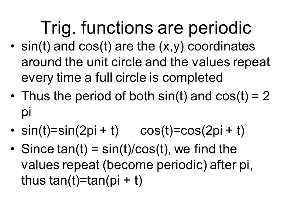 Trig. functions are periodic sin(t) and cos(t) are the (x,y) coordinates around the unit circle and the values repeat every time a full circle is comp