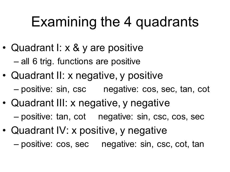 Examining the 4 quadrants Quadrant I: x & y are positive –all 6 trig. functions are positive Quadrant II: x negative, y positive –positive: sin, csc n