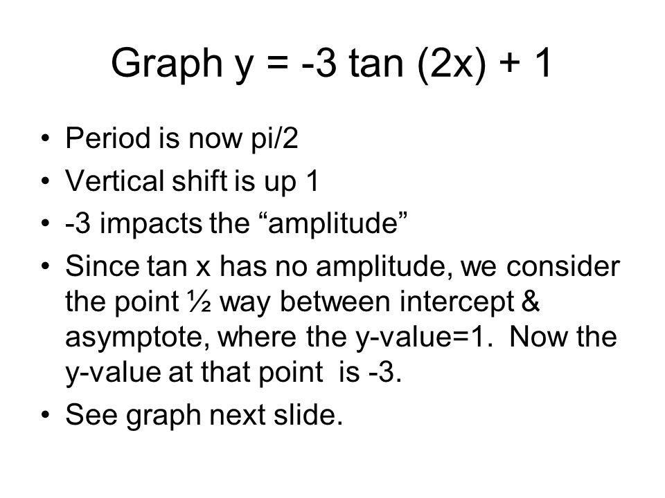 Graph y = -3 tan (2x) + 1 Period is now pi/2 Vertical shift is up 1 -3 impacts the amplitude Since tan x has no amplitude, we consider the point ½ way