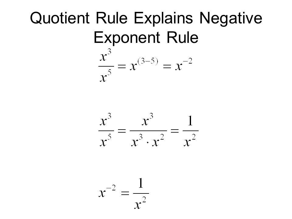 Quotient Rule Explains Negative Exponent Rule