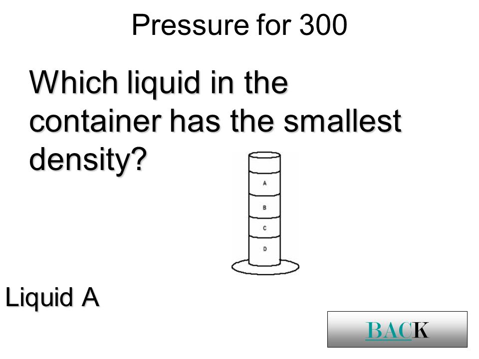 Pressure for 300 BACK Which liquid in the container has the smallest density Liquid A BACK