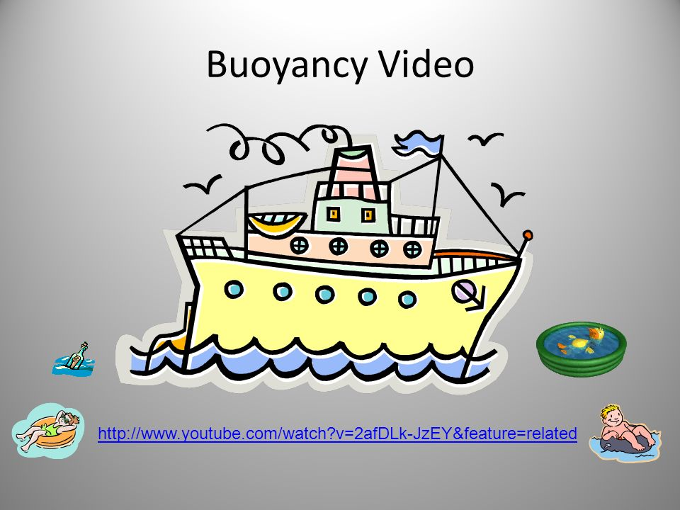 Buoyancy Video http://www.youtube.com/watch v=2afDLk-JzEY&feature=related