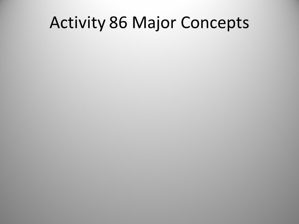 Activity 86 Major Concepts