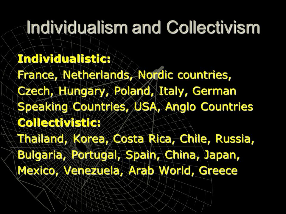 Individualism and Collectivism Individualistic: France, Netherlands, Nordic countries, Czech, Hungary, Poland, Italy, German Speaking Countries, USA,