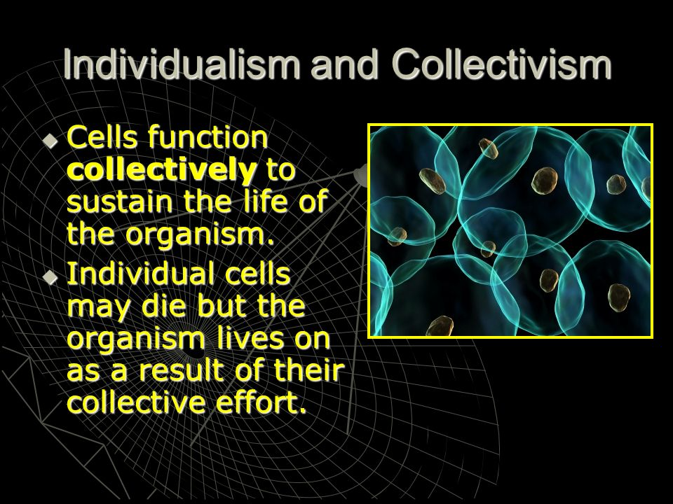 Individualism and Collectivism Cells function collectively to sustain the life of the organism. Cells function collectively to sustain the life of the