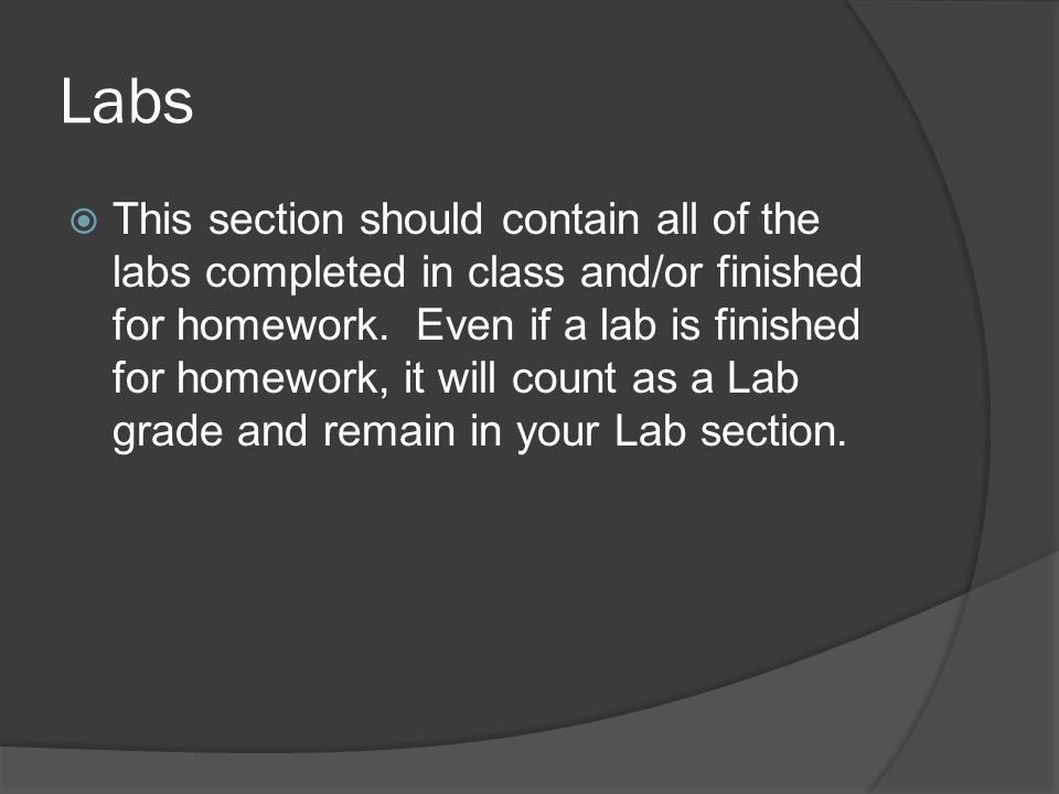 Labs This section should contain all of the labs completed in class and/or finished for homework. Even if a lab is finished for homework, it will coun