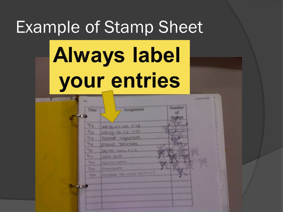 Example of Stamp Sheet
