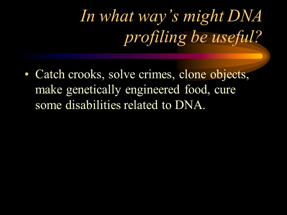 In what ways might DNA profiling be useful? Catch crooks, solve crimes, clone objects, make genetically engineered food, cure some disabilities relate