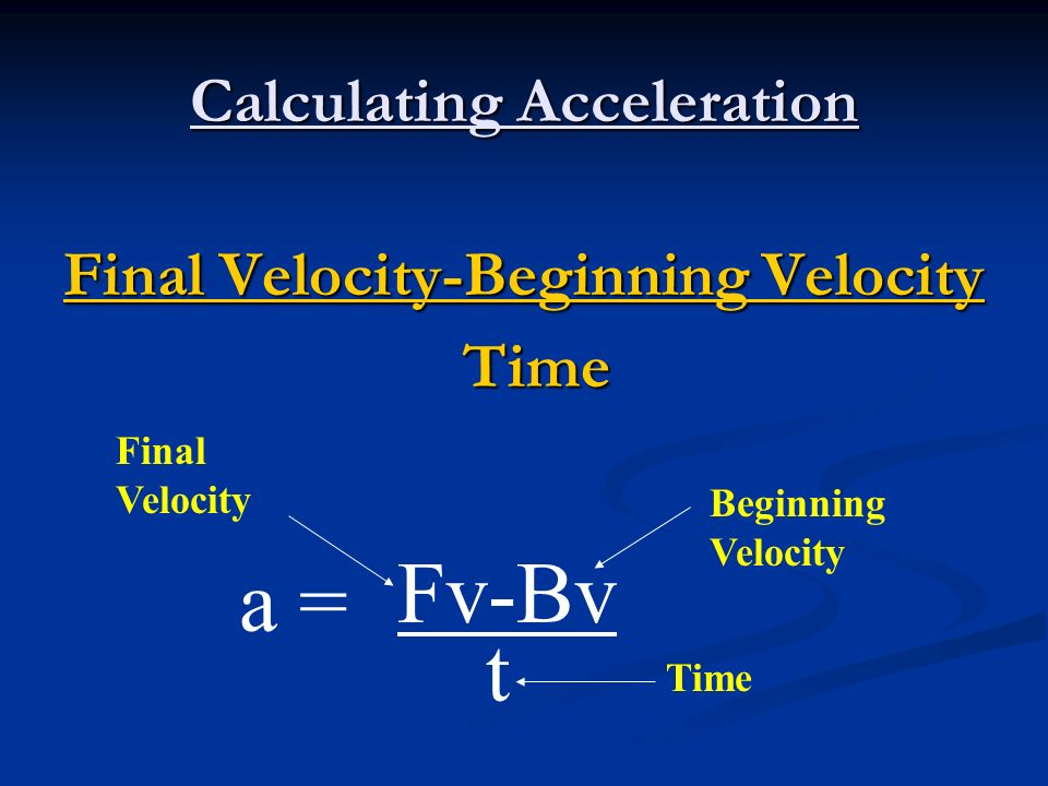 Calculating Acceleration Final Velocity-Beginning Velocity Time Fv-Bv t Beginning Velocity Final Velocity Time a =