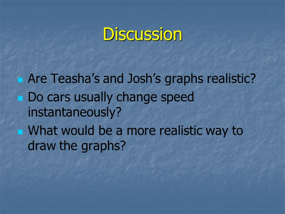 Discussion Are Teashas and Joshs graphs realistic? Do cars usually change speed instantaneously? What would be a more realistic way to draw the graphs