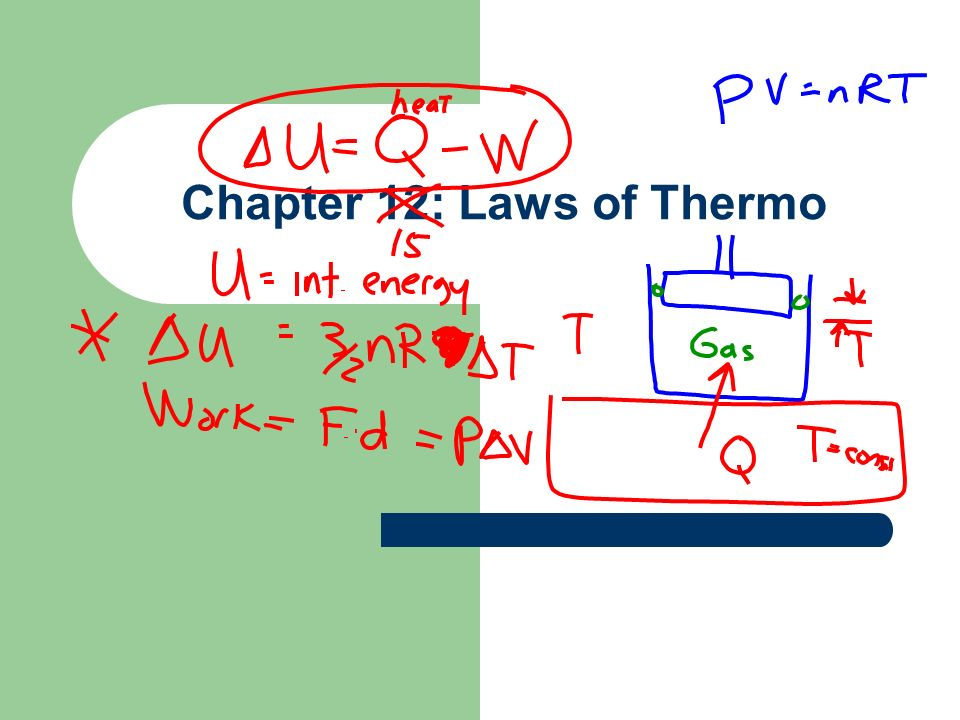 Law of Conservation of energy Change in U (internal energy) = Q – W.