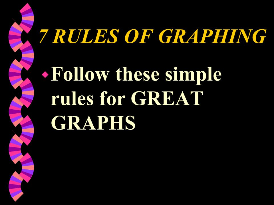 7 RULES OF GRAPHING w Follow these simple rules for GREAT GRAPHS