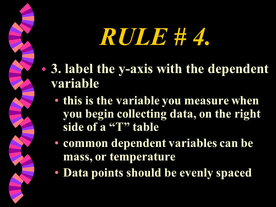 RULE # 4. w 3. label the y-axis with the dependent variable this is the variable you measure when you begin collecting data, on the right side of a T