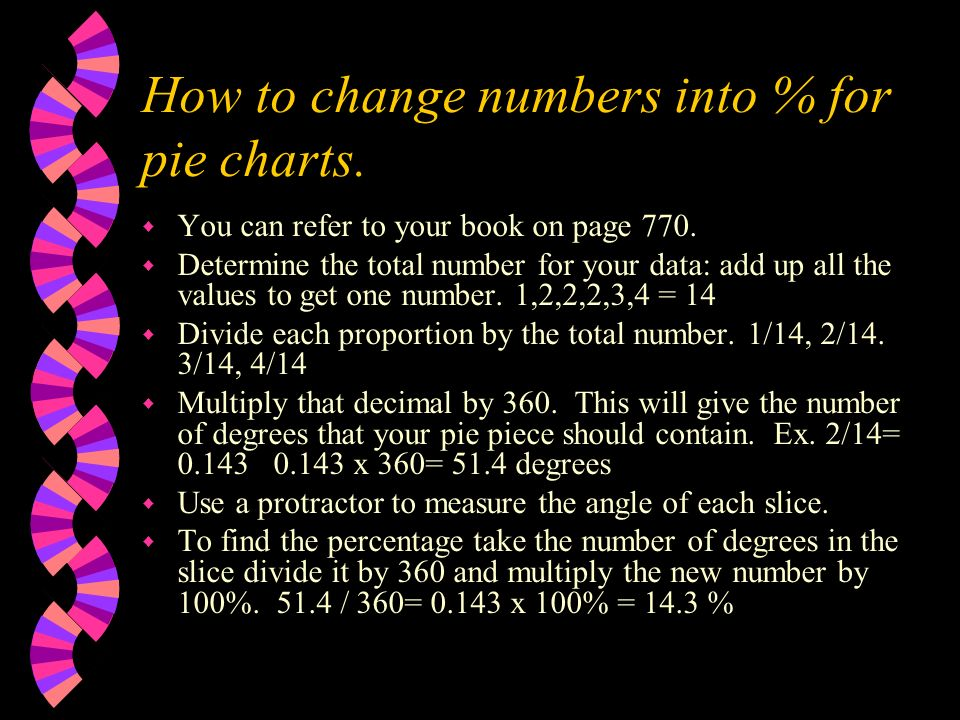 How to change numbers into % for pie charts. w You can refer to your book on page 770. w Determine the total number for your data: add up all the valu