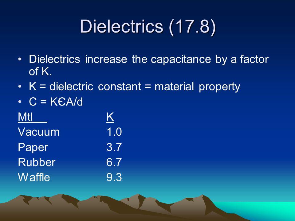 Energy in a capacitor Caps store energy E = ½ CV 2 (V = Voltage, not velocity…duh)