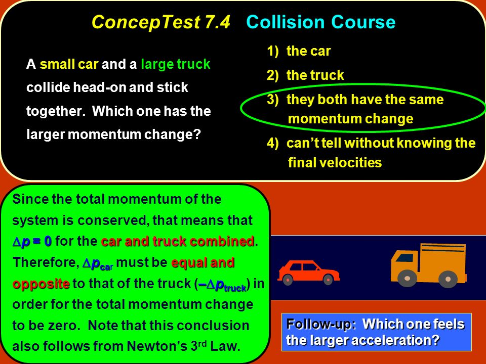 p = 0car and truck combined p ca equal and opposite– p truck Since the total momentum of the system is conserved, that means that p = 0 for the car an