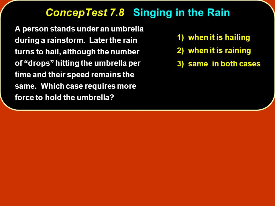 A person stands under an umbrella during a rainstorm. Later the rain turns to hail, although the number of drops hitting the umbrella per time and the