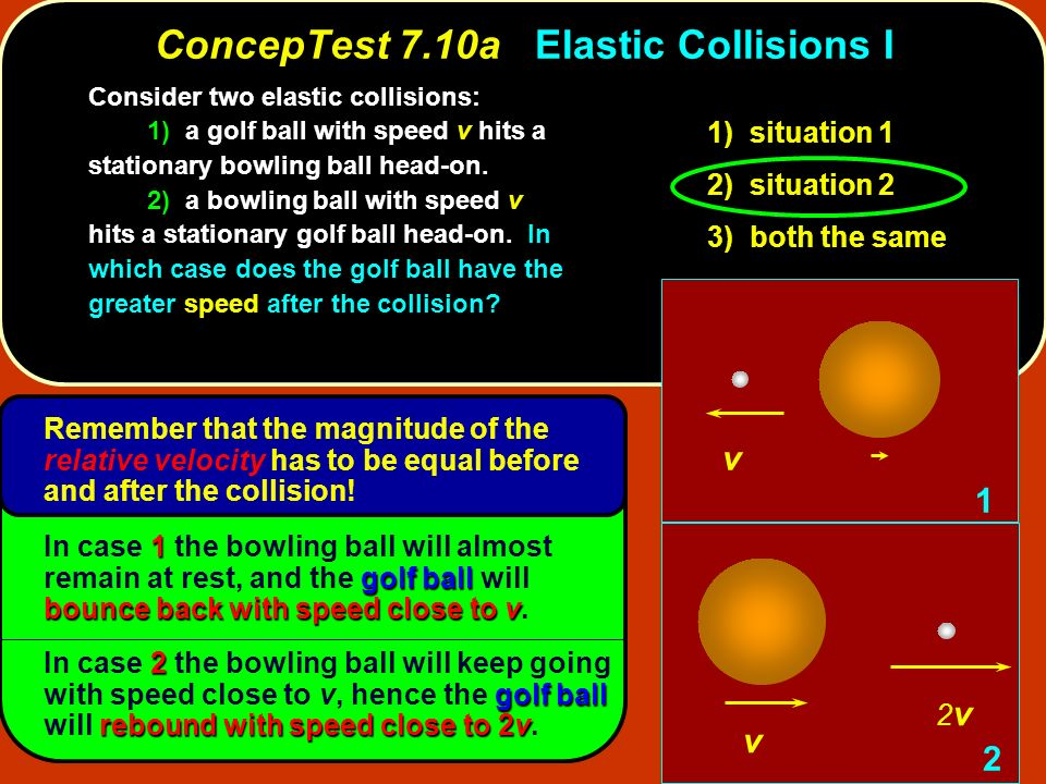 Remember that the magnitude of the relative velocity has to be equal before and after the collision! ConcepTest 7.10aElastic Collisions I ConcepTest 7