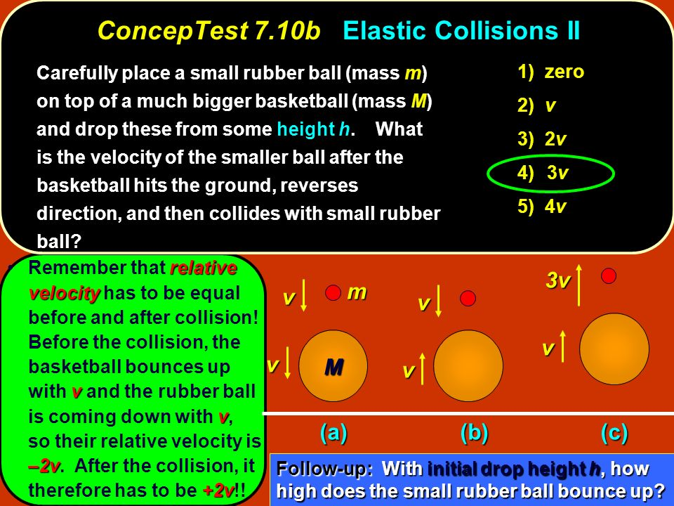 relative velocity v v –2v +2vRemember that relative velocity has to be equal before and after collision! Before the collision, the basketball bounces