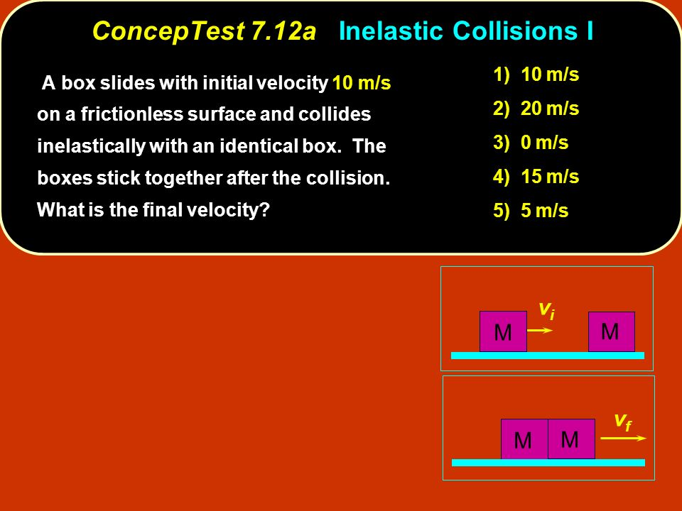 ConcepTest 7.12aInelastic Collisions I ConcepTest 7.12a Inelastic Collisions I vfvf vivi M M M M A box slides with initial velocity 10 m/s on a fricti