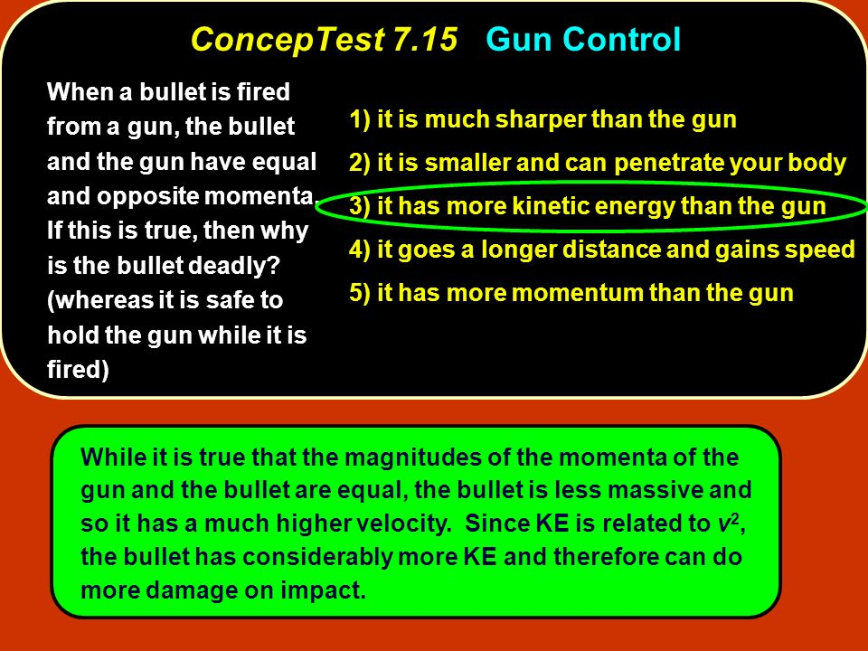 When a bullet is fired from a gun, the bullet and the gun have equal and opposite momenta. If this is true, then why is the bullet deadly? (whereas it