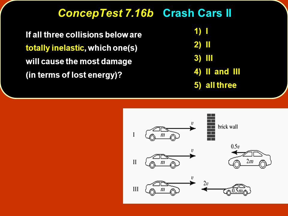 ConcepTest 7.16bCrash Cars II ConcepTest 7.16b Crash Cars II If all three collisions below are totally inelastic, which one(s) will cause the most dam