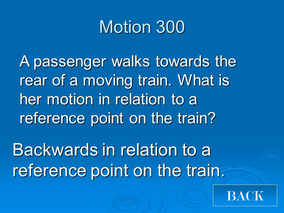 Backwards in relation to a reference point on the train.