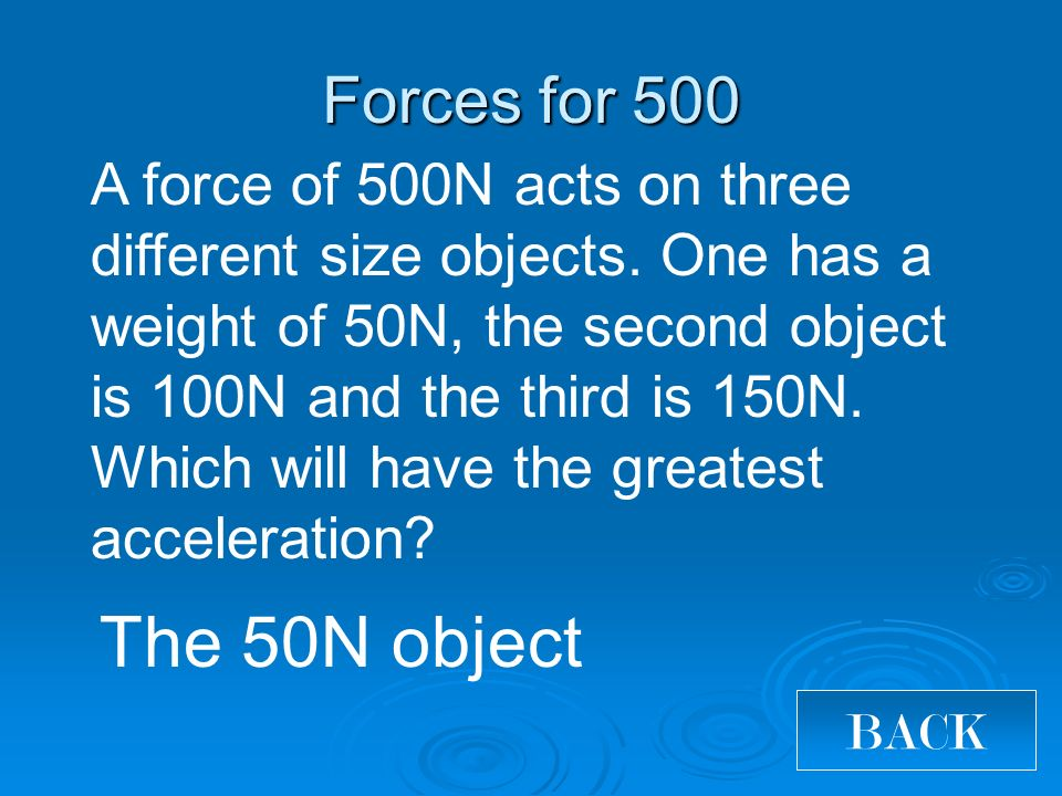 The 50N object Forces for 500 BACK A force of 500N acts on three different size objects.