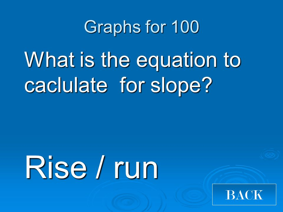 What is the equation to caclulate for slope? Rise / run Graphs for 100 BACK