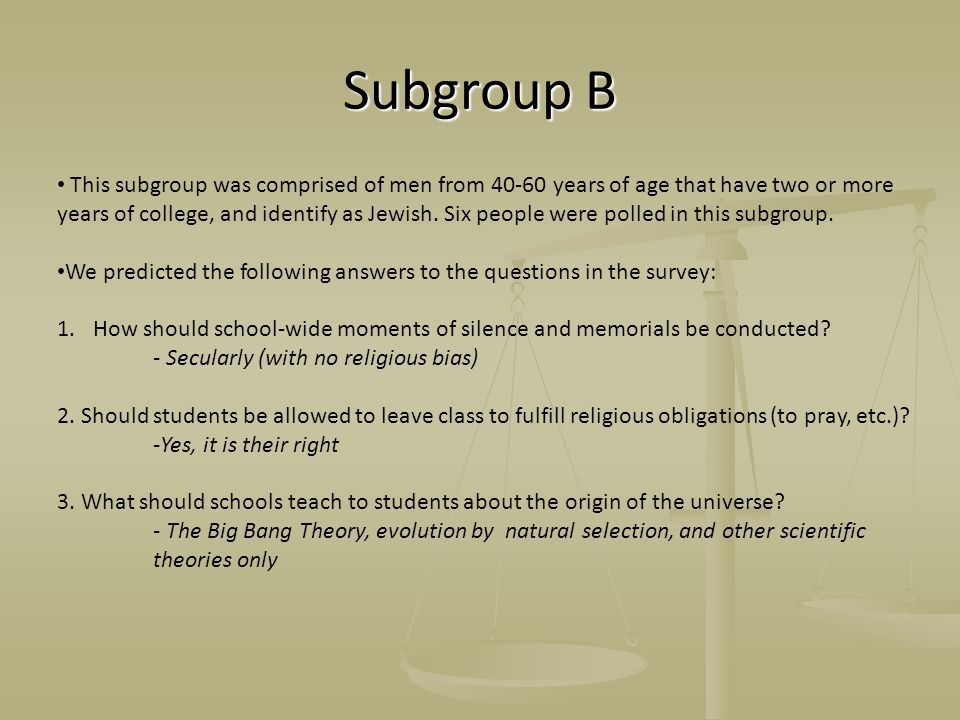 Subgroup B This subgroup was comprised of men from 40-60 years of age that have two or more years of college, and identify as Jewish. Six people were