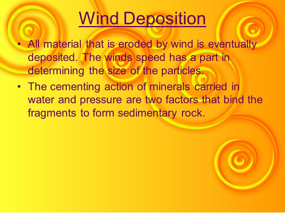 Wind Deposition All material that is eroded by wind is eventually deposited. The winds speed has a part in determining the size of the particles. The