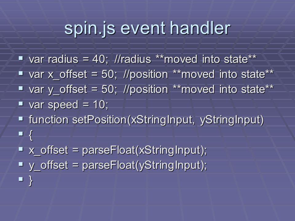 spin.js event handler var radius = 40; //radius **moved into state** var radius = 40; //radius **moved into state** var x_offset = 50; //position **mo