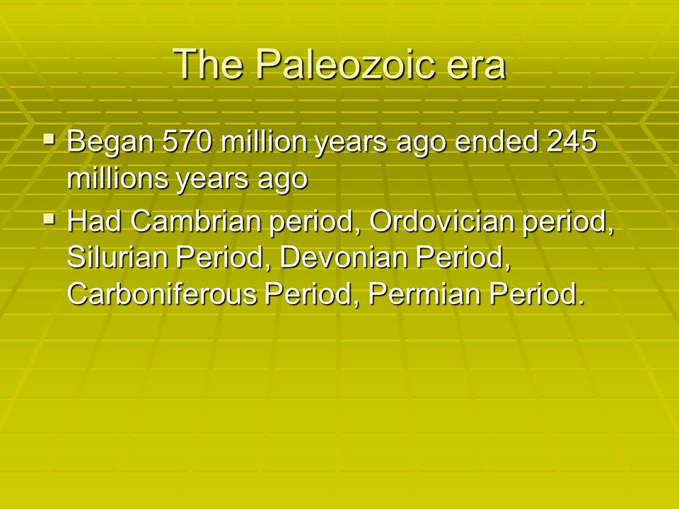 The Paleozoic era Began 570 million years ago ended 245 millions years ago Began 570 million years ago ended 245 millions years ago Had Cambrian period, Ordovician period, Silurian Period, Devonian Period, Carboniferous Period, Permian Period.