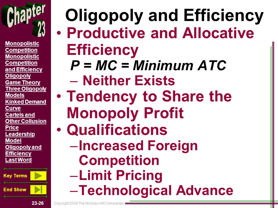 Copyright 2008 The McGraw-Hill Companies Monopolistic Competition Monopolistic Competition and Efficiency Oligopoly Game Theory Three Oligopoly Models Kinked Demand Curve Cartels and Other Collusion Price Leadership Model Oligopoly and Efficiency Last Word Key Terms End Show Oligopoly and Efficiency Productive and Allocative Efficiency P = MC = Minimum ATC – Neither Exists Tendency to Share the Monopoly Profit Qualifications –Increased Foreign Competition –Limit Pricing –Technological Advance