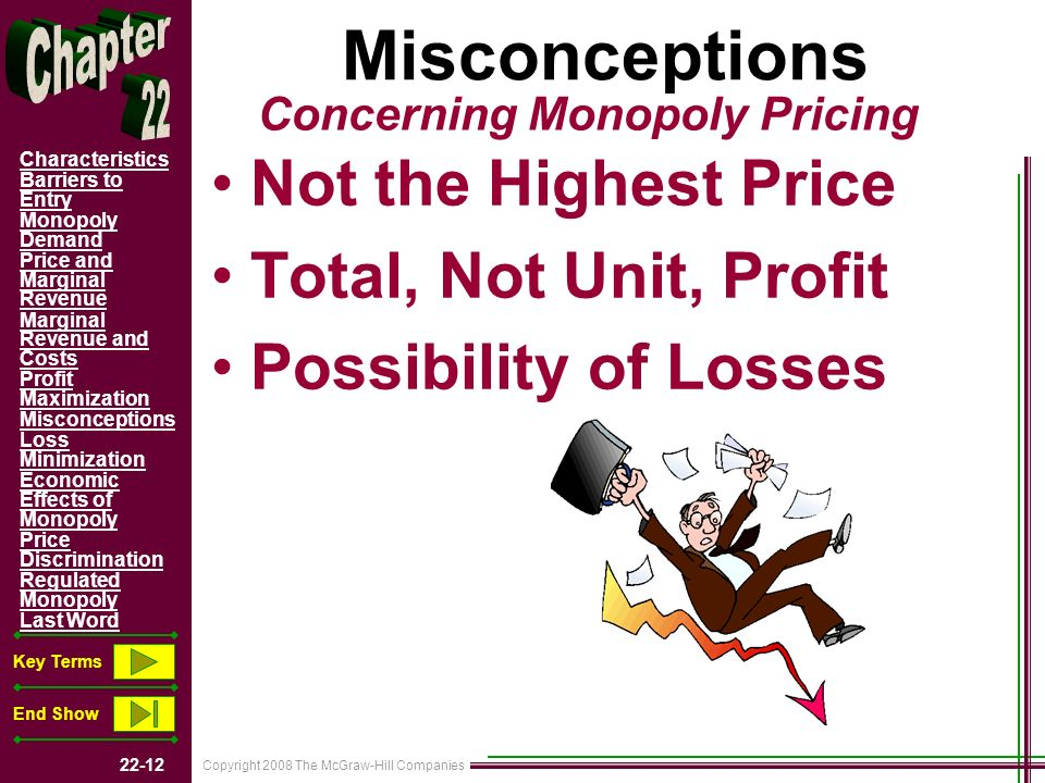 Copyright 2008 The McGraw-Hill Companies 22-12 Characteristics Barriers to Entry Monopoly Demand Price and Marginal Revenue Marginal Revenue and Costs Profit Maximization Misconceptions Loss Minimization Economic Effects of Monopoly Price Discrimination Regulated Monopoly Last Word Key Terms End Show Misconceptions Not the Highest Price Total, Not Unit, Profit Possibility of Losses Concerning Monopoly Pricing