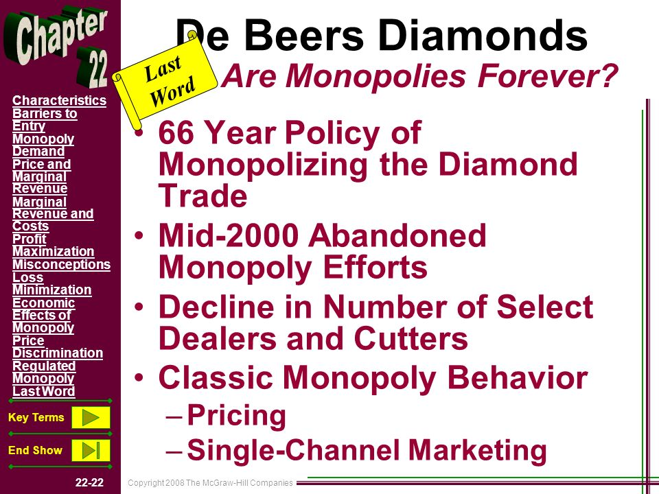 Copyright 2008 The McGraw-Hill Companies 22-22 Characteristics Barriers to Entry Monopoly Demand Price and Marginal Revenue Marginal Revenue and Costs Profit Maximization Misconceptions Loss Minimization Economic Effects of Monopoly Price Discrimination Regulated Monopoly Last Word Key Terms End Show De Beers Diamonds 66 Year Policy of Monopolizing the Diamond Trade Mid-2000 Abandoned Monopoly Efforts Decline in Number of Select Dealers and Cutters Classic Monopoly Behavior –Pricing –Single-Channel Marketing Last Word Are Monopolies Forever?