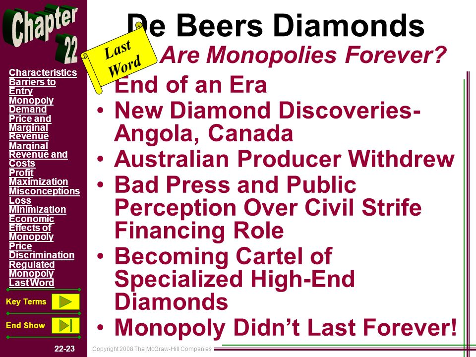 Copyright 2008 The McGraw-Hill Companies 22-23 Characteristics Barriers to Entry Monopoly Demand Price and Marginal Revenue Marginal Revenue and Costs Profit Maximization Misconceptions Loss Minimization Economic Effects of Monopoly Price Discrimination Regulated Monopoly Last Word Key Terms End Show De Beers Diamonds End of an Era New Diamond Discoveries- Angola, Canada Australian Producer Withdrew Bad Press and Public Perception Over Civil Strife Financing Role Becoming Cartel of Specialized High-End Diamonds Monopoly Didnt Last Forever.