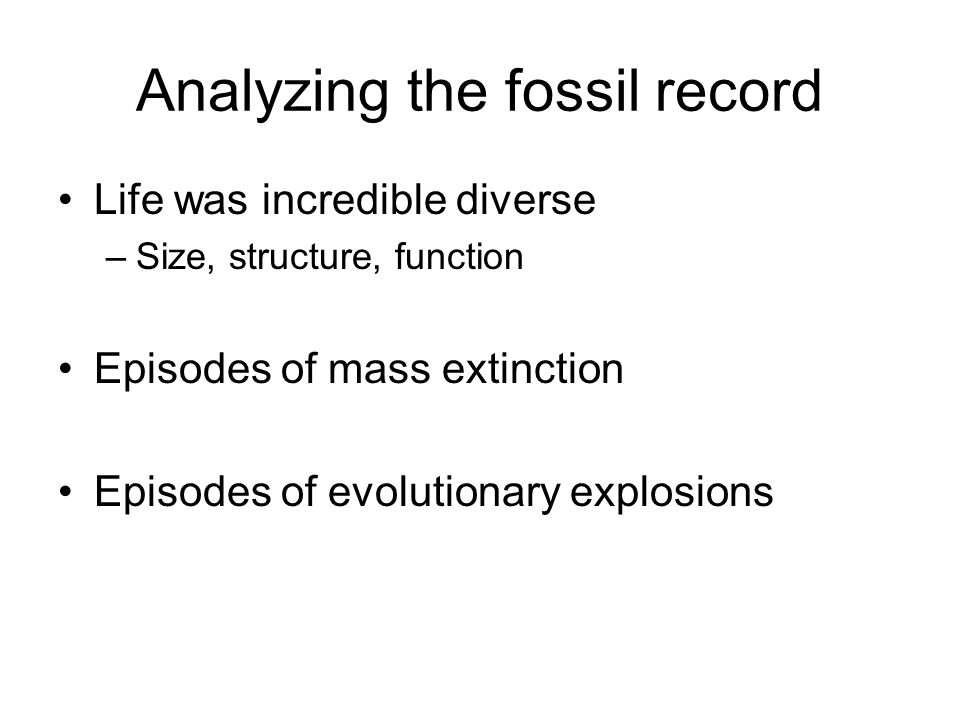 Analyzing the fossil record Life was incredible diverse –Size, structure, function Episodes of mass extinction Episodes of evolutionary explosions