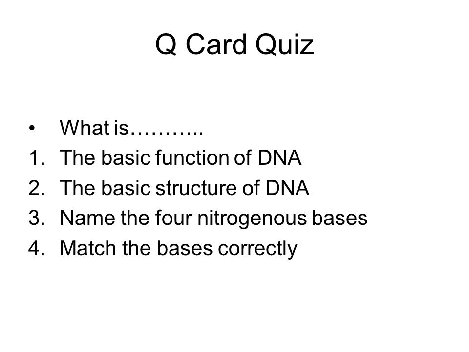 Q Card Quiz What is……….. 1.The basic function of DNA 2.The basic structure of DNA 3.Name the four nitrogenous bases 4.Match the bases correctly