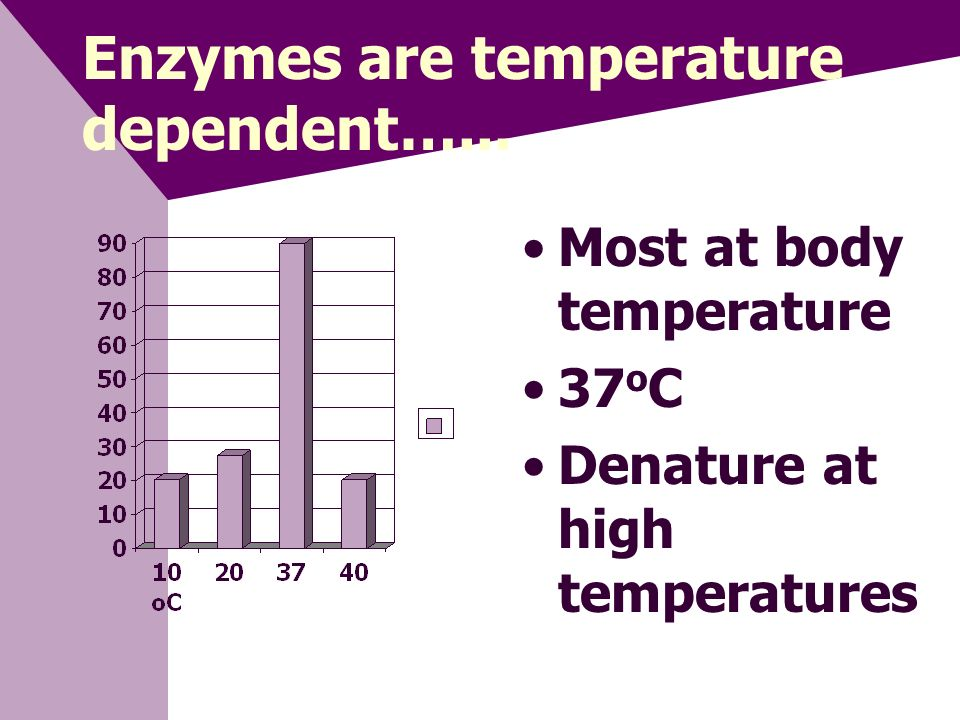 Enzymes are pH specific Different enzymes Different body areas Different optimum pH Examples: Stomach= acid pH Mouth= basic pH Stomach Blood Mouth