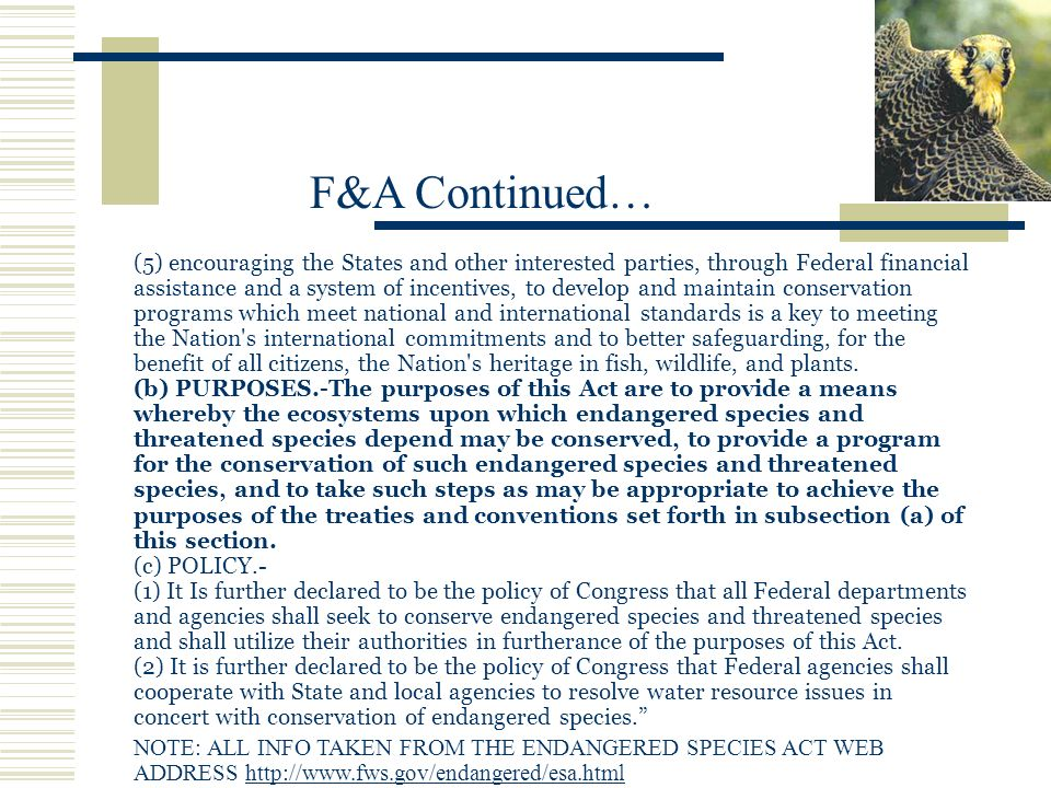 (5) encouraging the States and other interested parties, through Federal financial assistance and a system of incentives, to develop and maintain conservation programs which meet national and international standards is a key to meeting the Nation s international commitments and to better safeguarding, for the benefit of all citizens, the Nation s heritage in fish, wildlife, and plants.