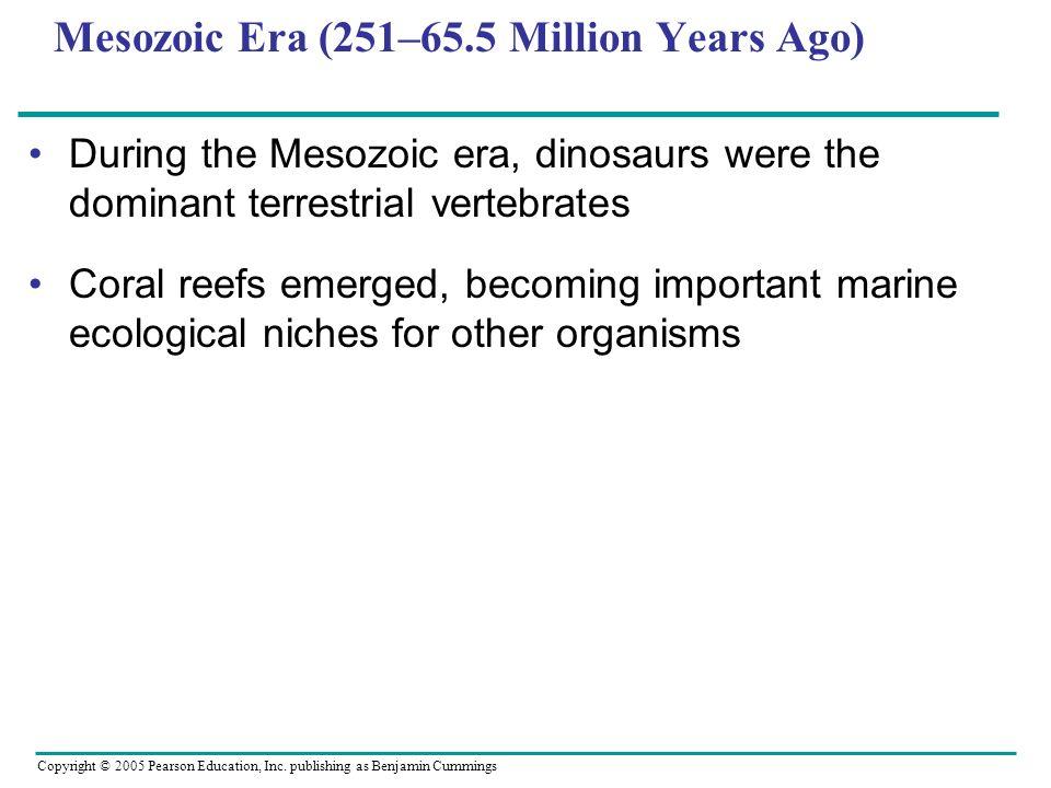 Mesozoic Era (251–65.5 Million Years Ago) During the Mesozoic era, dinosaurs were the dominant terrestrial vertebrates Coral reefs emerged, becoming i