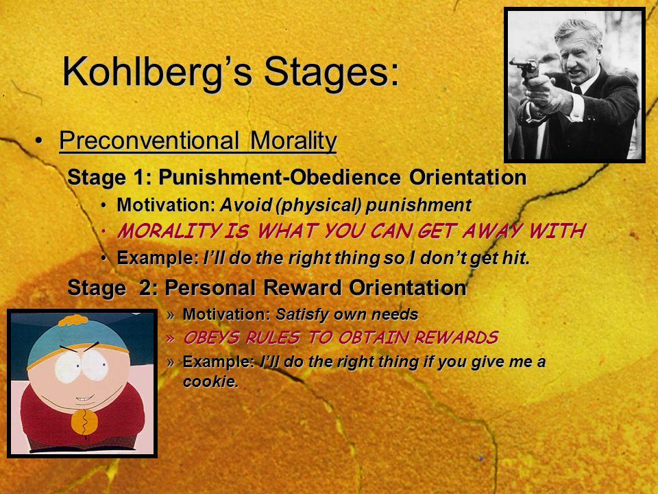 Kohlbergs Stages Kohlberg suggested a stage theory of moral development: Kohlberg suggested a stage theory of moral development: Preconventional Moral