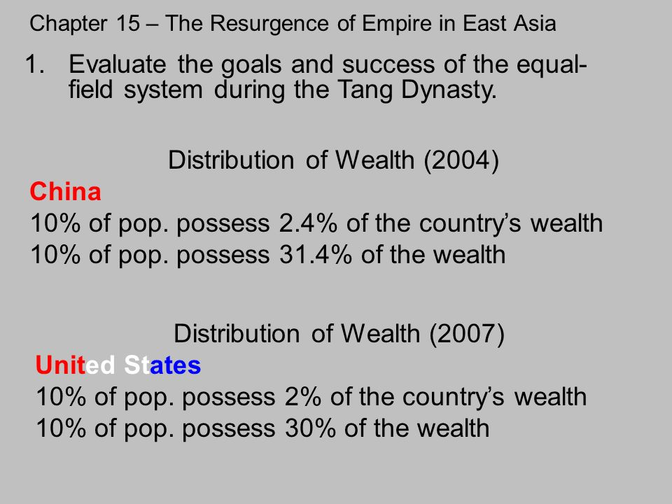 Chapter 15 – The Resurgence of Empire in East Asia 1.Evaluate the goals and success of the equal- field system during the Tang Dynasty. Distribution o